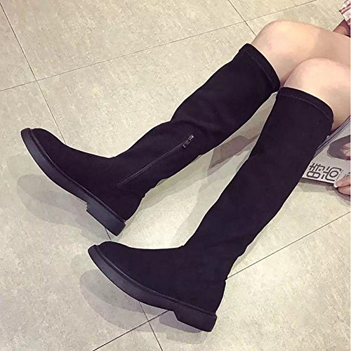HSXZ Women's Shoes Nubuck leather PU Suede Winter Fall Comfort Fashion Boots Boots Low Heel Round Toe For Casual Black Black C5yU4KQ2Yi
