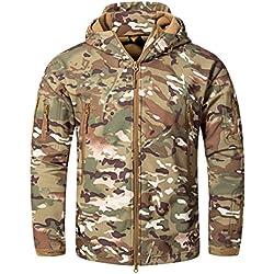 CRYSULLY Male Bicycle Coat Softshell Jacket Fleece Lining Hiking Travelling Jacket Rain Coat CP
