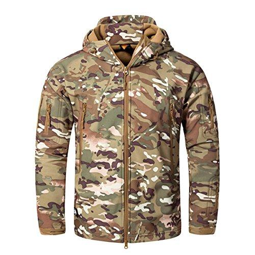 CRYSULLY Male Bicycle Coat Softshell Jacket Fleece Lining Hiking Travelling Jacket Rain...