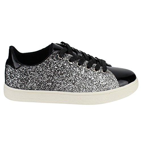 Moda Donna Glitter Leggero Metallizzato Trapuntato Trapuntato Lace Up Scarpa Stringata Bassa Top Elegante Sneaker (9, Glitter Nero-1)