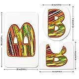 3 Piece Bathroom Mat Set,Letter B,Winter Season Inspired Typing Tool Art Design Digitally Made Multicolor Palette Decorative,Multicolor,Bath Mat,Bathroom Carpet Rug,Non-Slip