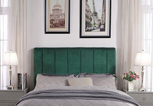 Iconic Home FHB9066-AN Uriella Headboard Velvet Upholstered Vertical Striped Modern Transitional, Twin, Green - Green Twin Headboard