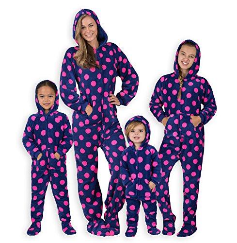 Footed Pajamas - - Navy Pink Polka Adult Hoodie Chenille Onesie