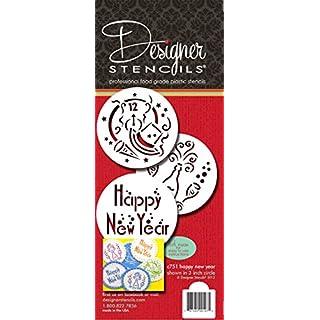 Designer Stencils Happy New Year Cookie Stencils, Beige/semi-transparent
