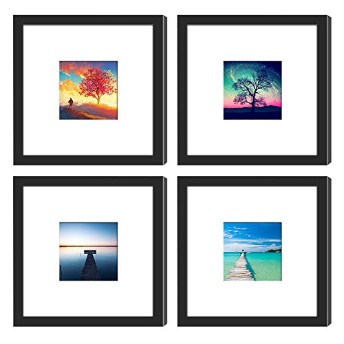 4PCs 8x8 Square Picture Frames Black with 2 Mats for 6x6 or 4x4 Pictures, Wood Instagram Photo Frames