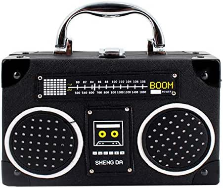 Heidi Bag Vintage Radio Clutch Handbag Leather Top Handle Crossbody Shoulder Bag