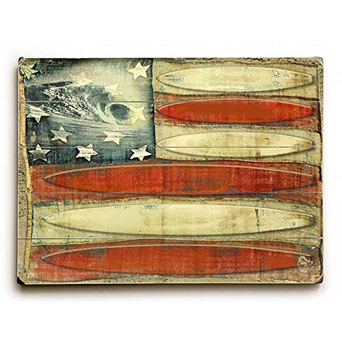 American Flag Surfboards by Artist Lynne Ruttkay 18''x24'' Planked Wood Sign Wall Decor Art