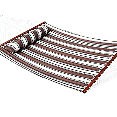 Ollieroo Fall Camp Hammock Quilted Fabric With Pillow double size spreader bar heavy duty stylish 450 lb Brown Stripes - Brand: Ollieroo. The vibrant stripe-colored polypropylene cotton fabric is available in multiple colors and features UV coated protection to help it last. The Hardwood spreader bar varnished in a dark mahogany color for an elegant touch and 20 cotton ropes ensure superior security during your outdoor oasis. - patio-furniture, patio, hammocks - 51SSnEO2MSL. SS400  -