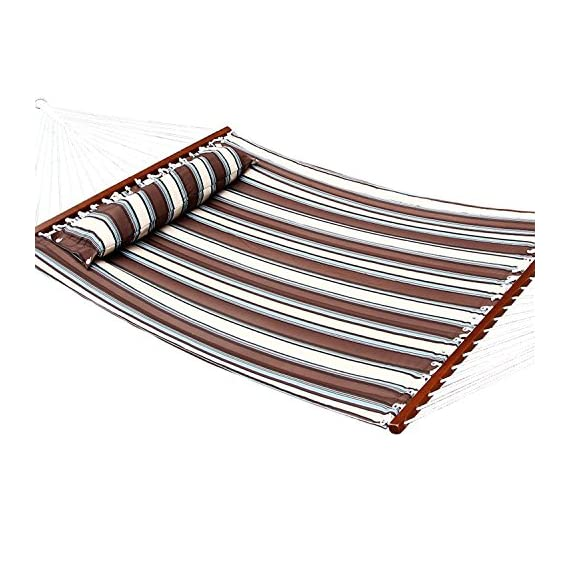 Ollieroo Fall Camp Hammock Quilted Fabric with Pillow Double Size Spreader bar Heavy Duty Stylish 450 lb Brown Stripes - Brand: Ollieroo. The vibrant stripe-colored polypropylene cotton fabric is available in multiple colors and features UV coated protection to help it last. The Hardwood spreader bar varnished in a dark mahogany color for an elegant touch and 20 cotton ropes ensure superior security during your outdoor oasis. - patio-furniture, patio, hammocks - 51SSnEO2MSL. SS570  -