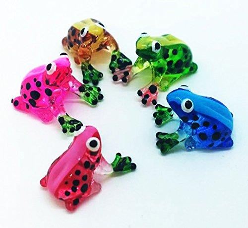 WitnyStore Miniature Frog Blown Glass Blowing Art Set Animals Decor Collectible Souvenir