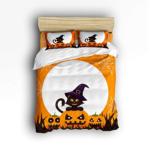 (Flouky Queen Beding Sets for Boys Girls,Orange Halloween Pumpkin The Wizard Design Duvet Cover Set,4 Pieces Include 1 Flat Sheet 1 Duvet Cover and 2 Pillow Cases)