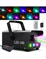 Fog Machine, Smoke Machine 13 Colorful LED Lights Effect, 500W and 2000CFM Fog with 1 Wired Receiver and 2 Wireless Remote Controls, Perfect for Halloween, Wedding, DJ Performance & Stage Effect