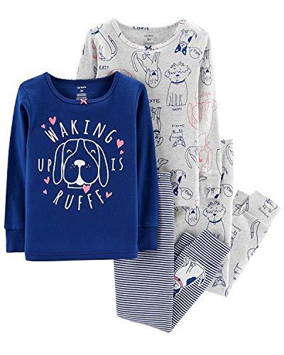 Carter's Girls Pajamas PJs 4pc Cotton Snug Glitter Puppy Dog Set (8)