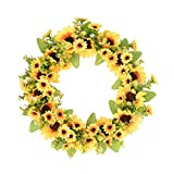 FAVOWREATH 2018 New Vitality Series Handmade 14 inch Silk Sunflowers Dry Branch Handmade Wreath For Front Door/Wall/Fireplace Wedding Decor
