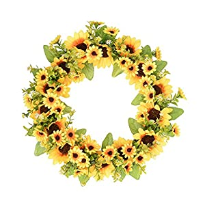 FAVOWREATH 2018 Vitality Series FAVO-W11 Handmade 14 inch Sunflowers Grapevine Wreath Summer/Fall Festival Celebration Front Door/Floral Wall/Room/Gift/Wedding Decor Home Decor (14 inch) 96