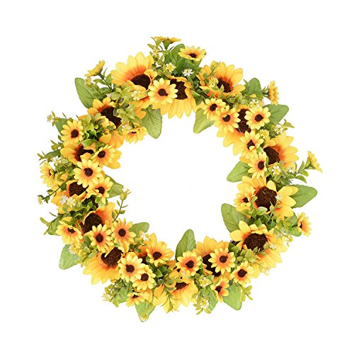 FAVOWREATH 2018 Vitality Series FAVO-W11 Handmade 9/11/14 inch Sunflowers Grapevine Wreath For Summer/Fall Festival Celebration Front Door/Floral Wall/Room/Gift/Wedding Decor Home Decor (14 inch)