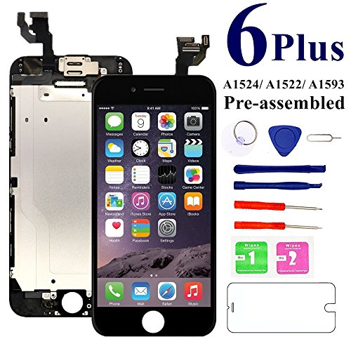 - for iPhone 6 Plus Screen Replacement Full Assembly 5.5 inch [Black] - MAFIX LCD Display Digitizer Touch Screen for Model A1522 A1524 with Proximity Sensor, Earpiece, Front Camera, Repair Tools