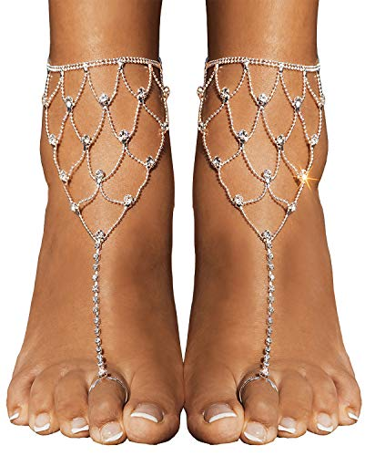 Bienvenu 2 Pcs Foot Jewelry Barefoot Sandals Bridemaids Beach Wedding Jewelry Toe Ring Anklet