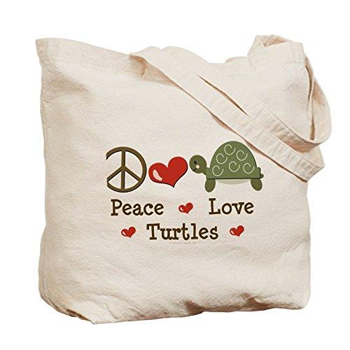 CafePress–Pace Love Tartarughe–Borsa di tela naturale, panno borsa per la spesa