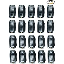 Fani 20Pcs Clips 9-Teeth Snap-Comb Wig Clips with Rubber for Hair Extension Wigs Weft Hairpiece DIY Clips (Black)