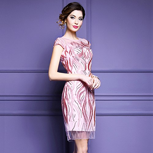 Sleeve Women`S Scoop Pink Formal Party Gowns cotyledon Cocktail Short Neck Dresses Slim xngq0TUFT