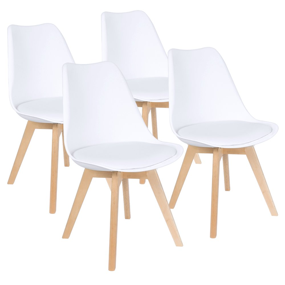 Furmax Mid Century Modern DSW Dining Chair Upholstered Side Chair with Beech Wood Legs and Soft Padded Shell Tulip Chair for Dining Room Living Room Bedroom Kitchen, Set of 4 (Upholstered White)