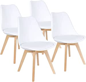 Furmax Mid Century Modern Dsw Dining Chair Upholstered Side Chair With Beech Wood Legs And Soft Padded Shell Tulip Chair For Dining Room Living Room Bedroom Kitchen Set Of 4