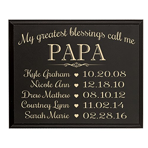 Personalized Gift for Papa with Family Established Year wall plaque with Custom Engraved children's names and dates to remember My Greatest blessings call me Papa by LifeSong Milestones (9x12, Black) - Established Date Plaque