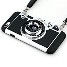 iPhone 6 and 6s Case Guojia 3D Camera Design Case PC Silicone Cover Case with Long Strap Rope Moderate Hardness