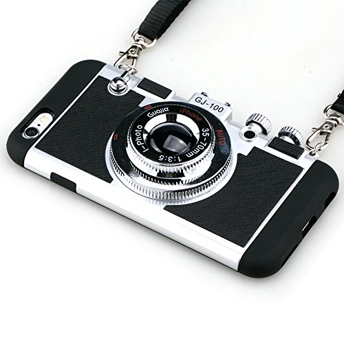iPhone 5/5S/SE Camera case,Guojia 3D Cute Design Silicone Cover with Long Strap Rope,Cool Phone Protector for iPhone 5/5S/SE-Black