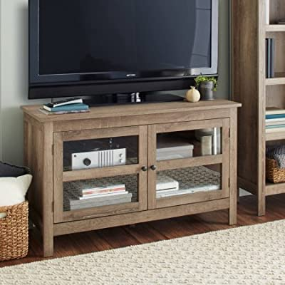 10 Spring Street Farmhouse Media Console Wood Grain Texture - Weathered Finish