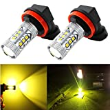 Alla Lighting High Power 3030 SMD New Version Xtremely Super Bright H11 H8 H16 Type 2 Gold Yellow LED Bulbs for Fog Light Lamps Replacement