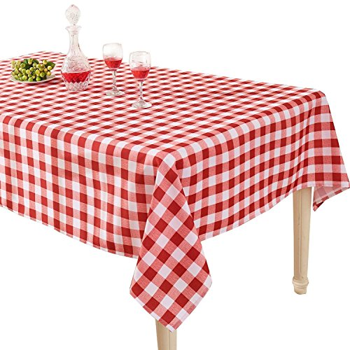 (YEMYHOM 100% Polyester Spillproof Tablecloths for Rectangle Tables 60 x 84 Inch Indoor Outdoor Camping Picnic Rectangular Table Cloth (Red and White)