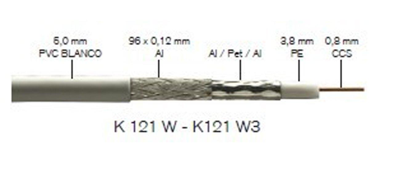 Fte-maximal k 121 w - Cable coaxial 750h diámetro 3,8 k121w pvc blanco: Amazon.es: Bricolaje y herramientas