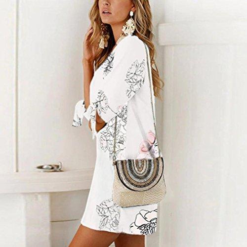 Mini fittingran Fiocco Estivo Donna Casual Dress Vestito Mezza Breve Striaght Manica Abito Fiori Bendaggio Floreale Bianco q70xpw5t
