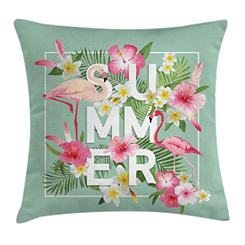 (Ambesonne Floral Decor Throw Pillow Cushion Cover, Tropical Flower with Flamingos Retro Wedding Romance Petals Graphic Art, Decorative Square Accent Pillow Case, 16 X 16 Inches, Mint Green)