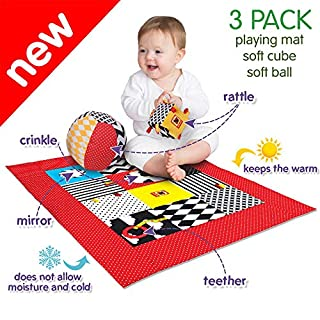 MACIK B&W baby toy SET 3-PlayingMat+ SoftRattleBall+Rattle Crinkle Cube- Baby teething toys infant toys 3-6 months- Baby sensory toys Development toys 6-12 month baby toys- Newborn toys Baby chew toys