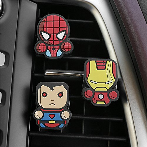 Price comparison product image SuperHero Car Vent Clip Air Freshener Fragrance Essential Oil Diffuser 3 pcs set decor with Superman Spiderman Ironman Captain America Batman and Hulk (Superman / Spiderman / Ironman)