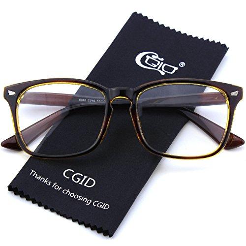 monture CN82 CGID monture Gold et grosses Brown à audacieuse UV400 Lunettes oversized transparents verres d'écailles TzqCwUxzd