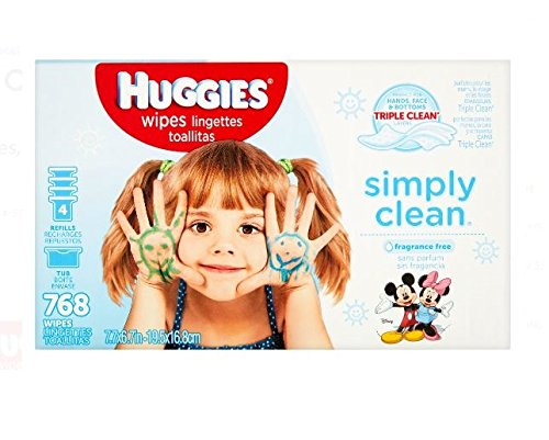 HUGGIES SIMPLY CLEAN Fragrance-Free Baby Wipes, Hypoallergenic (1 Tub, 4X Refill Packs, 768 Count) Kleenex 32661