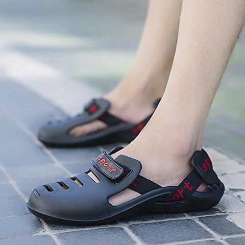 Xing Lin Flip Flop De La Playa Verano Nuevo Lazy Man Shoes Calzado Casual Hombres Sandalias Tendencia Sandalias Zapatos Antideslizantes black