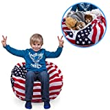 Stuffed Animal Storage Bean Bag Chair With Stars and Stripes Print. FILL IT, ...
