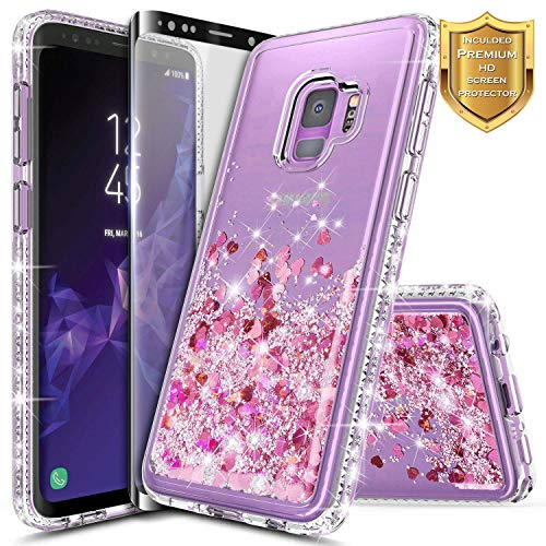 Galaxy S9 Case w/[Full Coverage Screen Protector Premium Clear], NageBee Glitter Liquid Quicksand Waterfall Flowing Sparkle Bling Diamond Girls Cute Case Designed for Samsung Galaxy S9 -Rose Gold