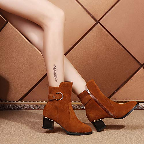 Zipper 1 Redonda Boots Bola Brown Con Zapatos Botines Zapatillas Mujer Ante De Botas Punta Cabeza Pelo Bazhahei Color Pure Gamuza Para Cuña fgpqnYv