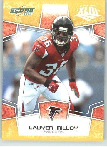 Falcons Card Nfl Score Atlanta - 2008 Donruss - Score Limited Edition Super Bowl XLIII Gold Border # 16 Lawyer Milloy - Atlanta Falcons - NFL Trading Card