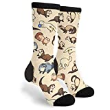 Adorable Ferret Unisex Casual Sports Socks Knee High Athletic Long Tube Stockings