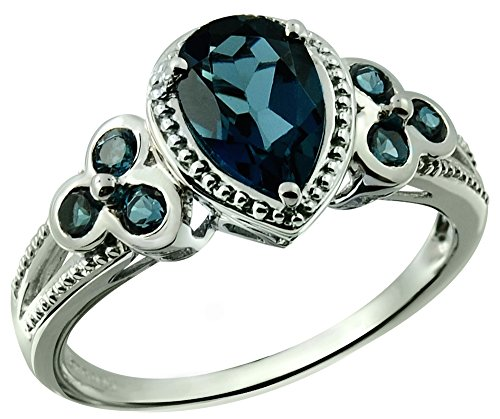 Sterling Silver 925 Ring LONDON BLUE TOPAZ 2.09 Carats with RHODIUM-PLATED Finish (5) (925 Silver Side Ring Accented)