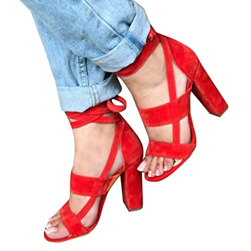 Womens Open Toe Chunky Block Strappy High Heel Sandal Sexy Lace up Dress Shoe