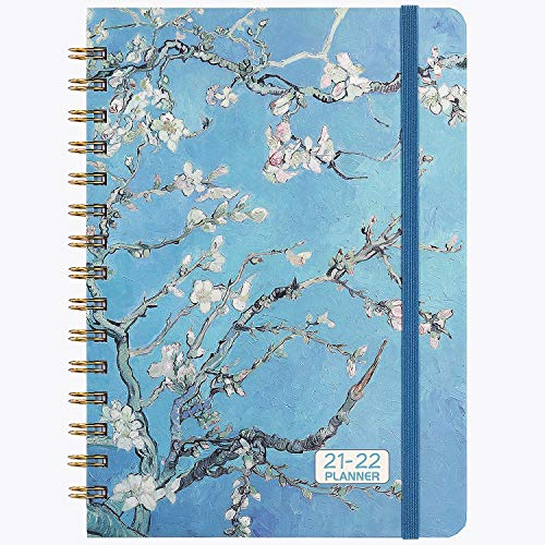 Elastic Closure 12 Monthly Tabs 2021 Diary A5 Week to View Strong Twin- Wire Binding Inner Pocket Diary 2021 with Flexible Hardcover