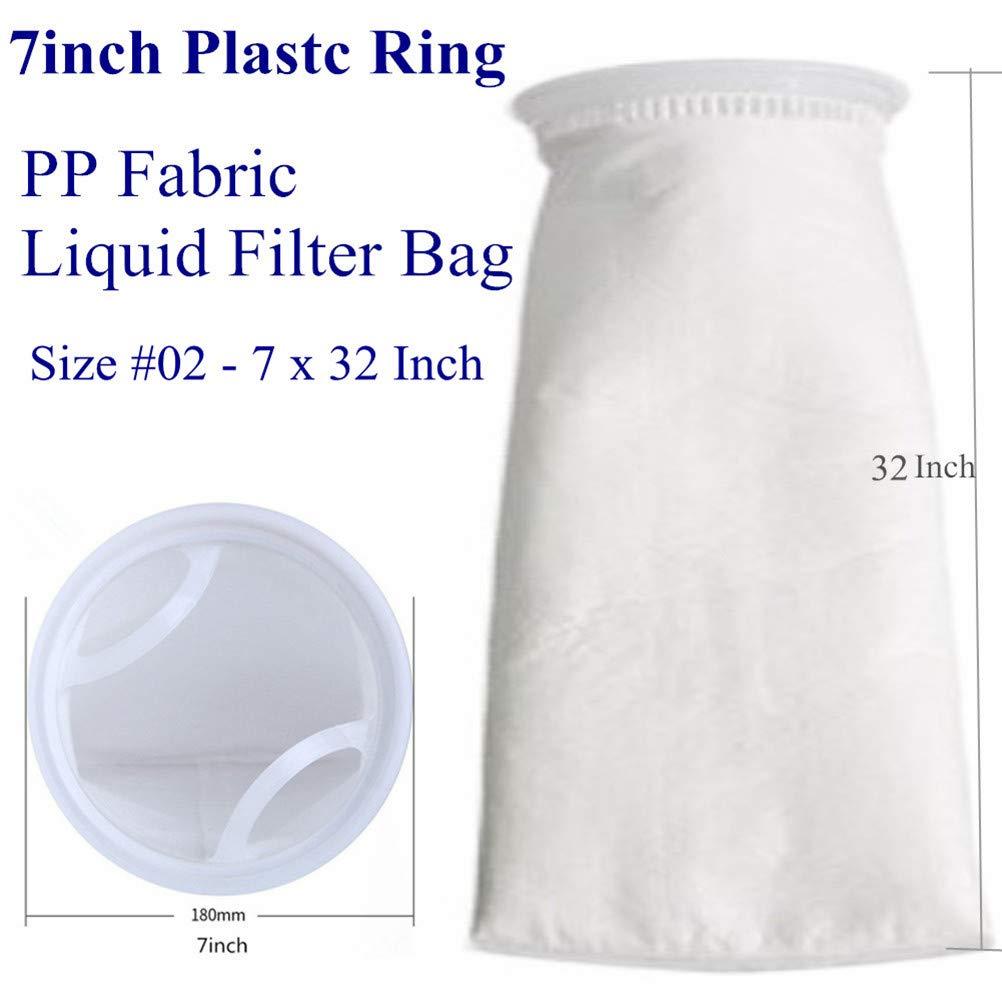 2 unidades 7 x 32 inch Bolsas de filtro de fieltro de 1 micr/ón // 5 micras // 150 micras Calcet/ín de filtro de agua l/íquida 1 micron Anillo de 7 pulgadas por 32 pulgadas de largo